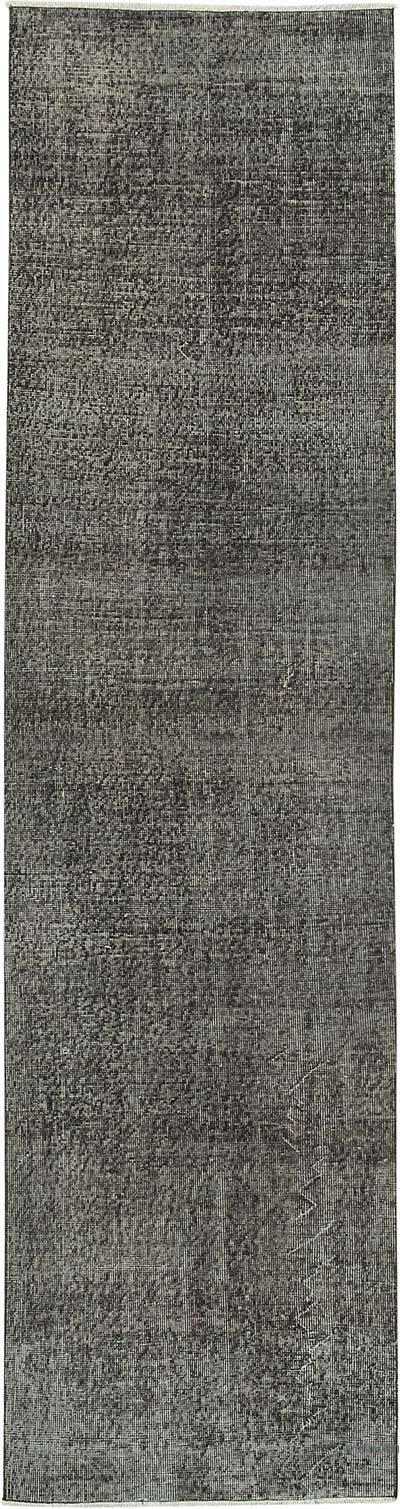 Siyah Boyalı El Dokuma Vintage Halı Yolluk - 82 cm x 307 cm