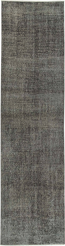 "Black Over-dyed Turkish Vintage Runner Rug - 2' 8"" x 10' 1"" (32 in. x 121 in.) - K0054453"