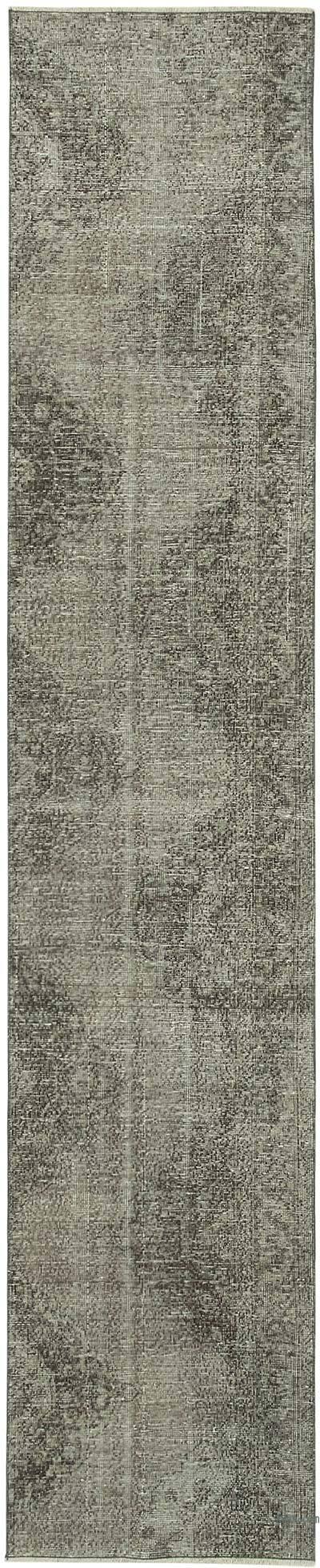 Gris Alfombra de Pasillo Turca Vintage Sobreteñida - 71 cm x 352 cm