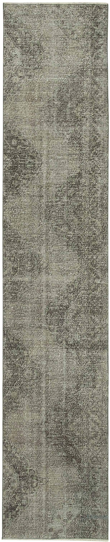 "Grey Over-dyed Turkish Vintage Runner Rug - 2' 4"" x 11' 7"" (28 in. x 139 in.) - K0054455"