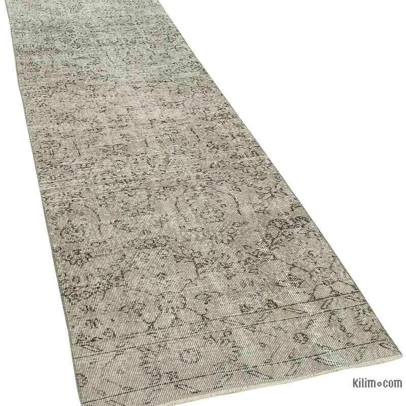 "Grey Over-dyed Turkish Vintage Runner Rug - 2' 10"" x 10' 2"" (34 in. x 122 in.) - K0054456"