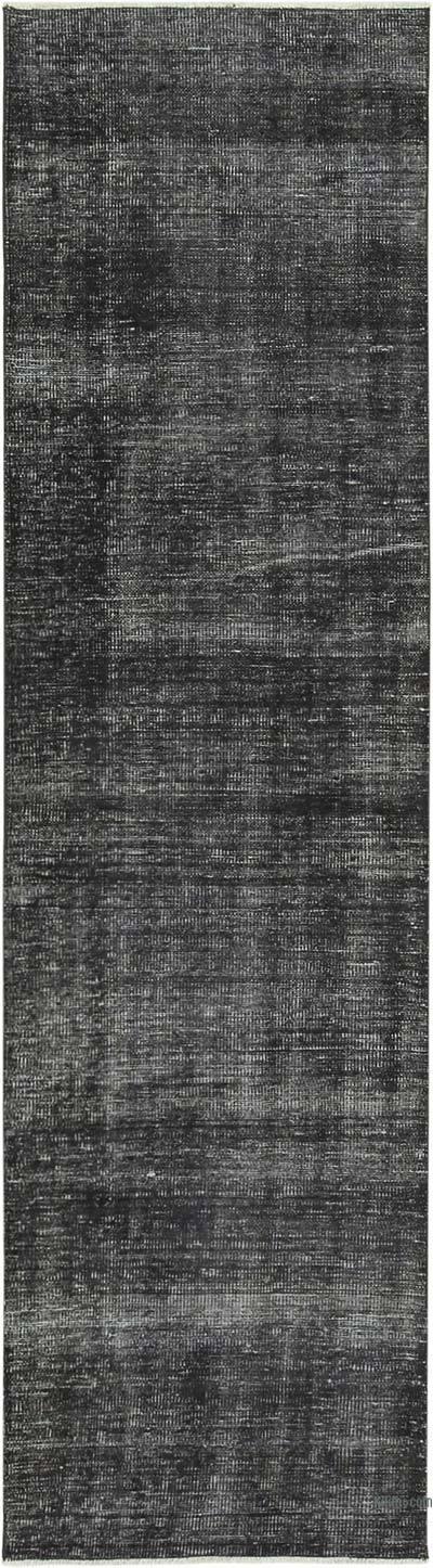 Siyah Boyalı El Dokuma Vintage Halı Yolluk - 80 cm x 298 cm