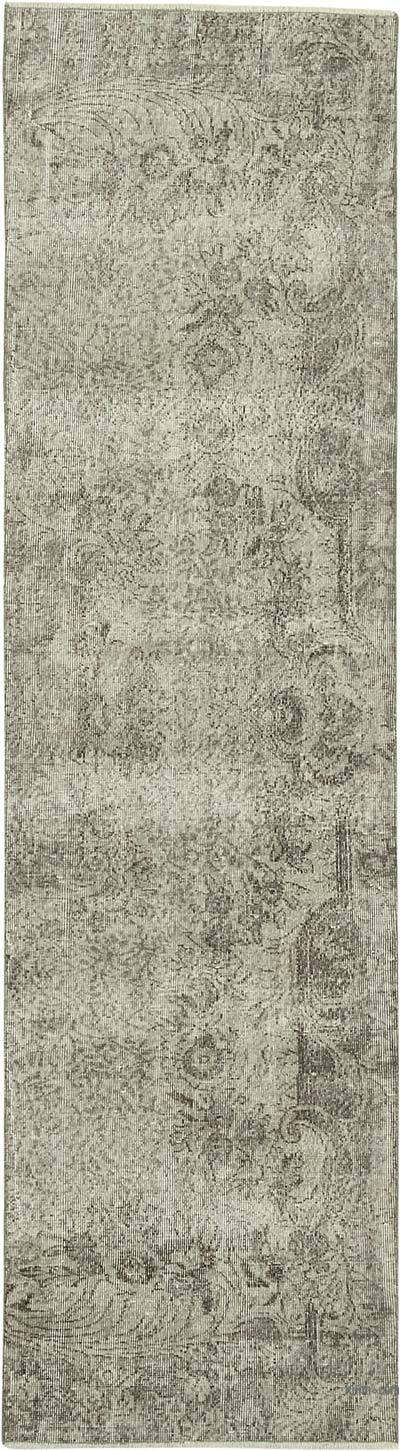 "Grey Over-dyed Turkish Vintage Runner Rug - 2' 7"" x 9' 8"" (31 in. x 116 in.)"