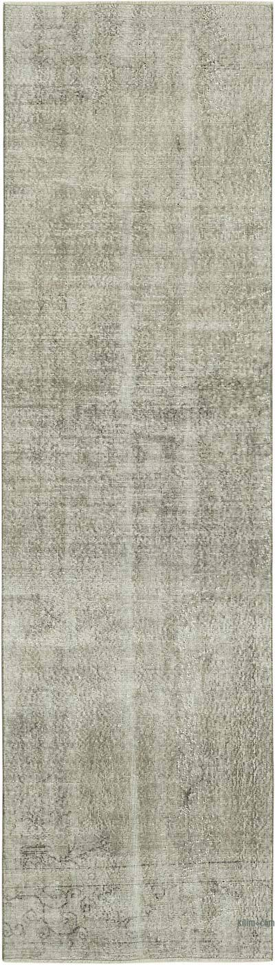 """Grey Over-dyed Turkish Vintage Runner Rug - 3'  x 10' 6"""" (36 in. x 126 in.)"""