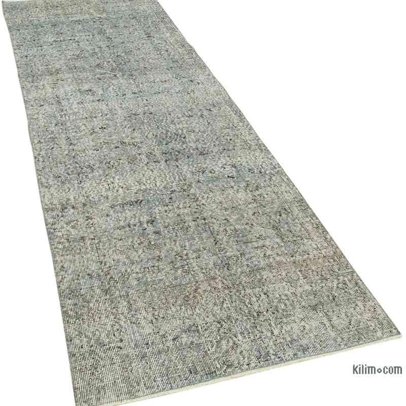"Blue Over-dyed Turkish Vintage Runner Rug - 3'  x 9' 7"" (36 in. x 115 in.) - K0054469"