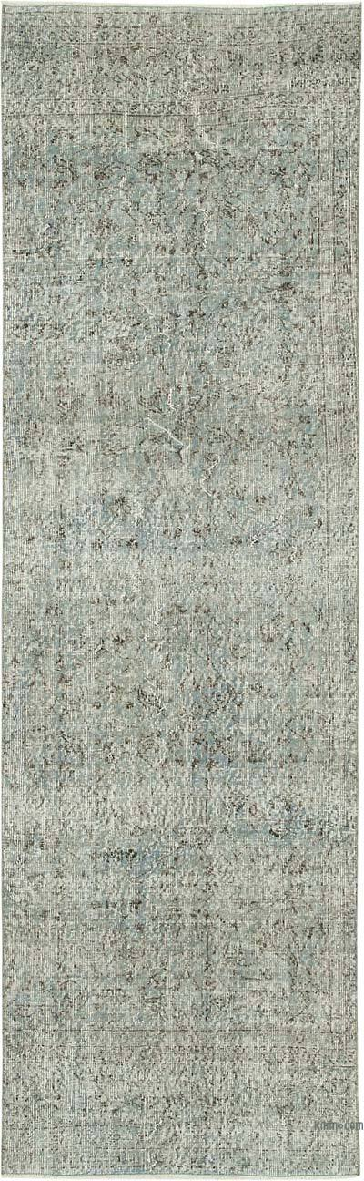"""Blue Over-dyed Turkish Vintage Runner Rug - 3'  x 9' 7"""" (36 in. x 115 in.)"""