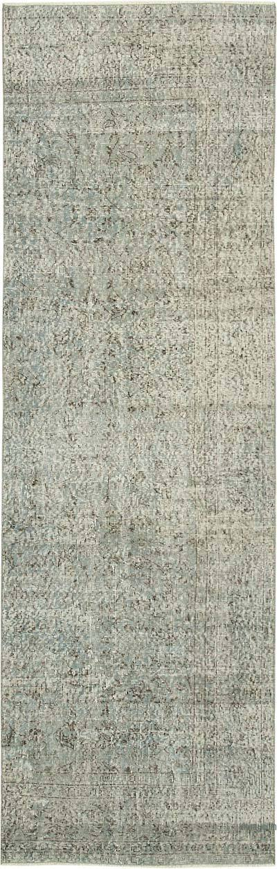 """Blue Over-dyed Turkish Vintage Runner Rug - 3'  x 9' 5"""" (36 in. x 113 in.)"""