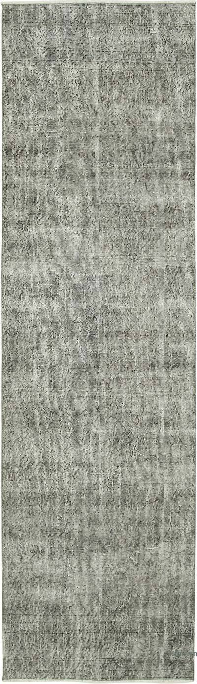 """Blue Over-dyed Turkish Vintage Runner Rug - 3'  x 10' 3"""" (36 in. x 123 in.)"""