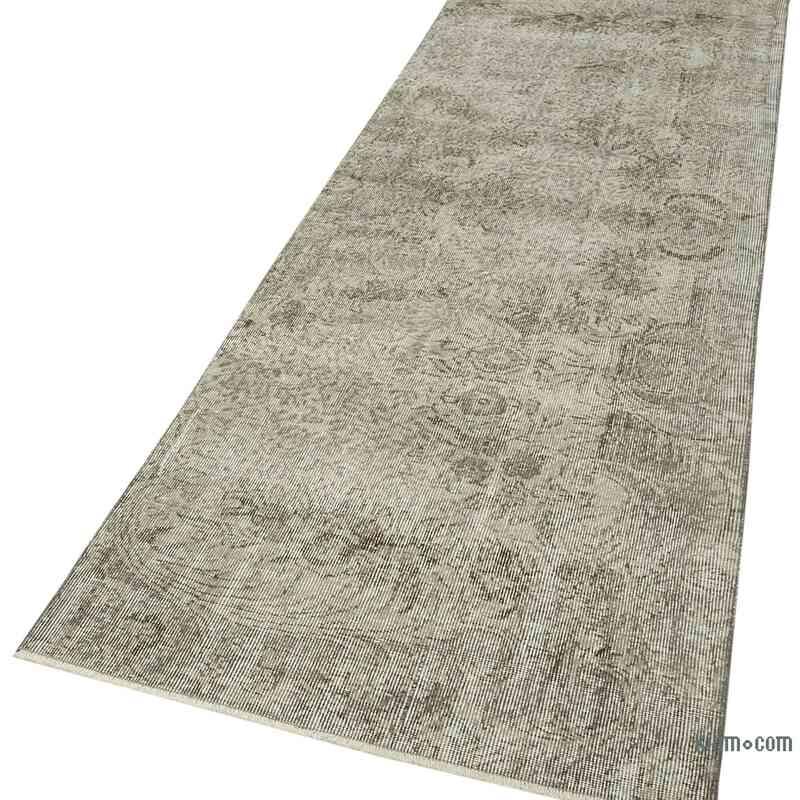 "Grey Over-dyed Turkish Vintage Runner Rug - 3' 1"" x 9' 9"" (37 in. x 117 in.) - K0054493"