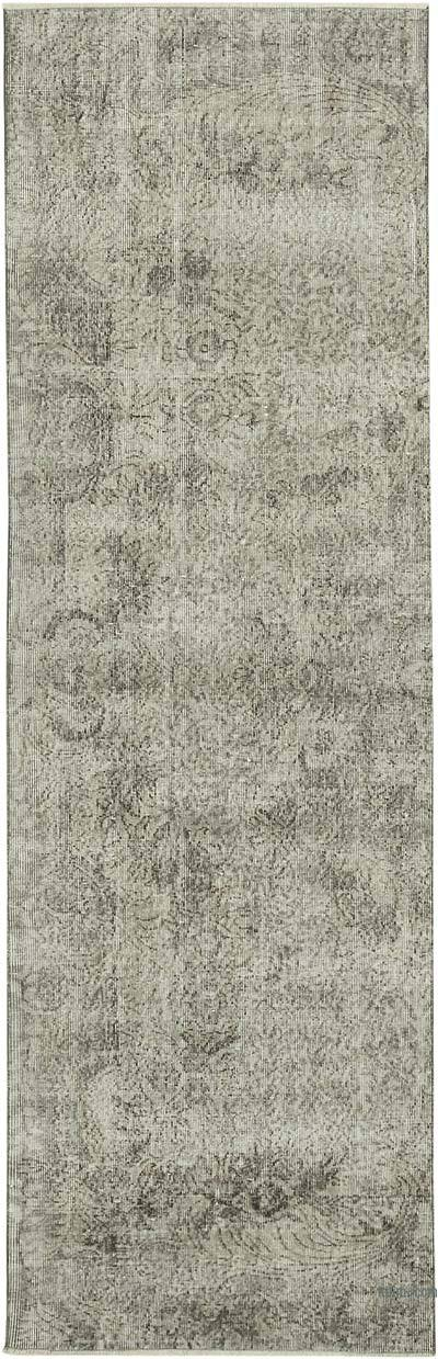 """Grey Over-dyed Turkish Vintage Runner Rug - 3' 1"""" x 9' 9"""" (37 in. x 117 in.)"""