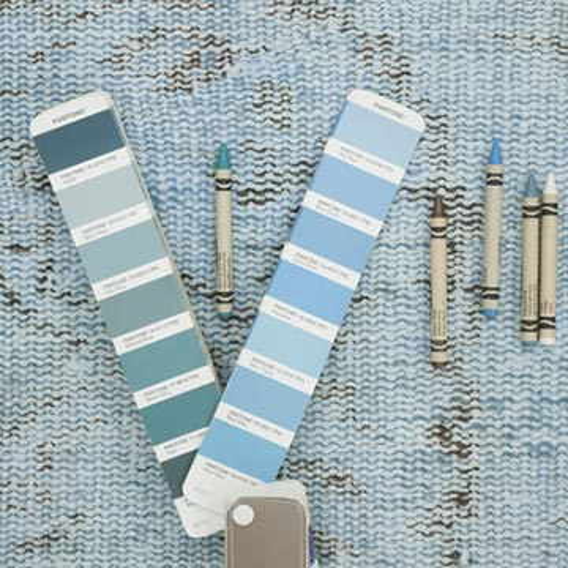 "Blue Over-dyed Turkish Vintage Runner Rug - 2' 7"" x 8' 6"" (31 in. x 102 in.) - K0054497"