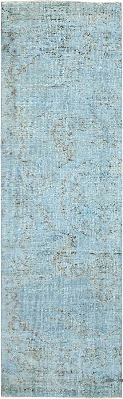 "Blue Over-dyed Turkish Vintage Runner Rug - 2' 7"" x 8' 6"" (31 in. x 102 in.)"