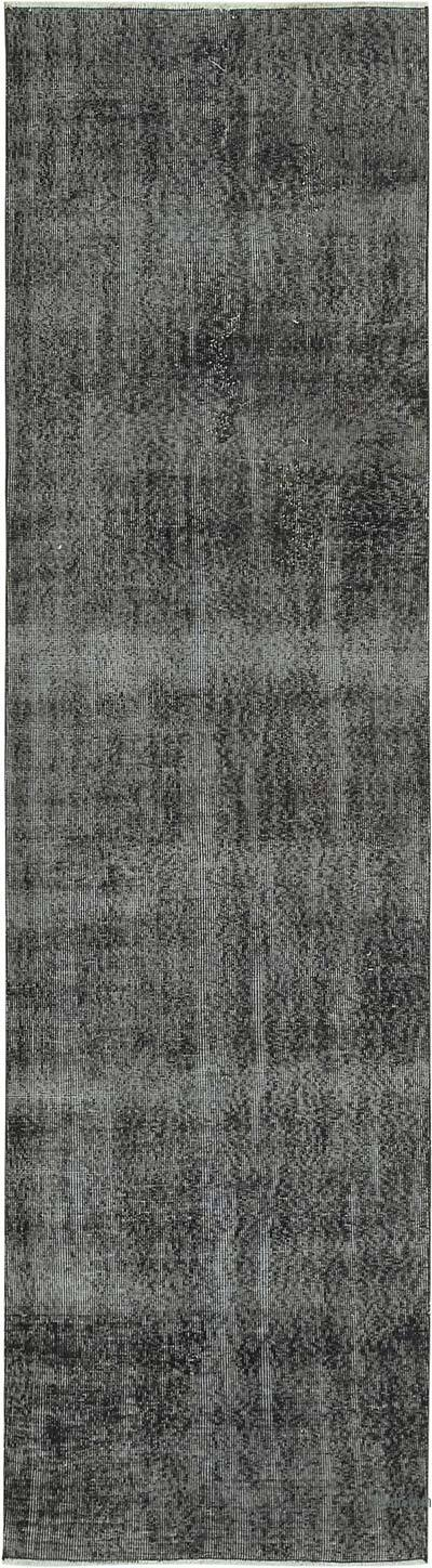 """Black Over-dyed Turkish Vintage Runner Rug - 2' 10"""" x 10' 3"""" (34 in. x 123 in.)"""