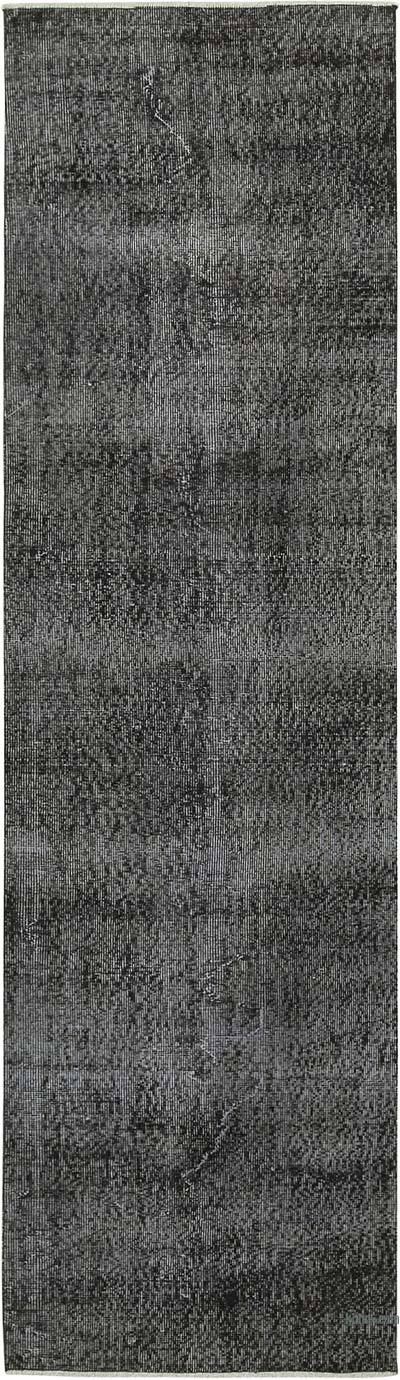 "Black Over-dyed Turkish Vintage Runner Rug - 2' 7"" x 9' 5"" (31 in. x 113 in.)"