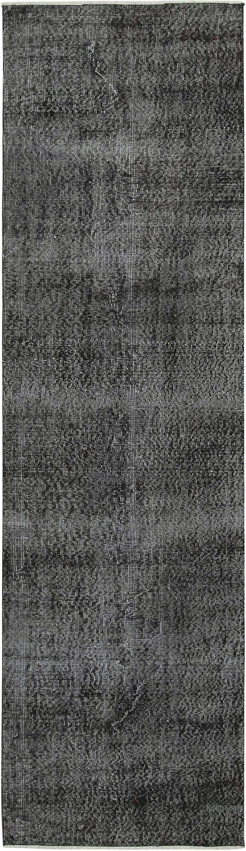 "Black Over-dyed Turkish Vintage Runner Rug - 2' 7"" x 9' 5"" (31 in. x 113 in.) - K0054500"