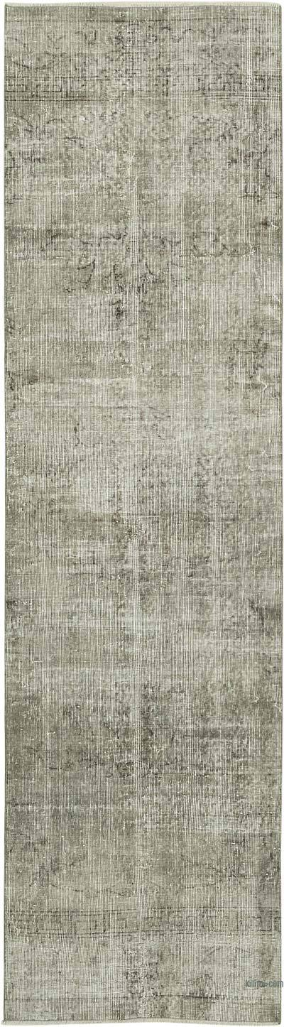 "Grey Over-dyed Turkish Vintage Runner Rug - 2' 7"" x 9' 7"" (31 in. x 115 in.)"