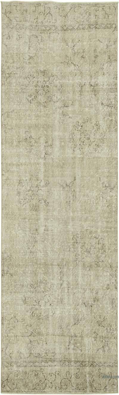Bej Boyalı El Dokuma Vintage Halı Yolluk - 97 cm x 307 cm
