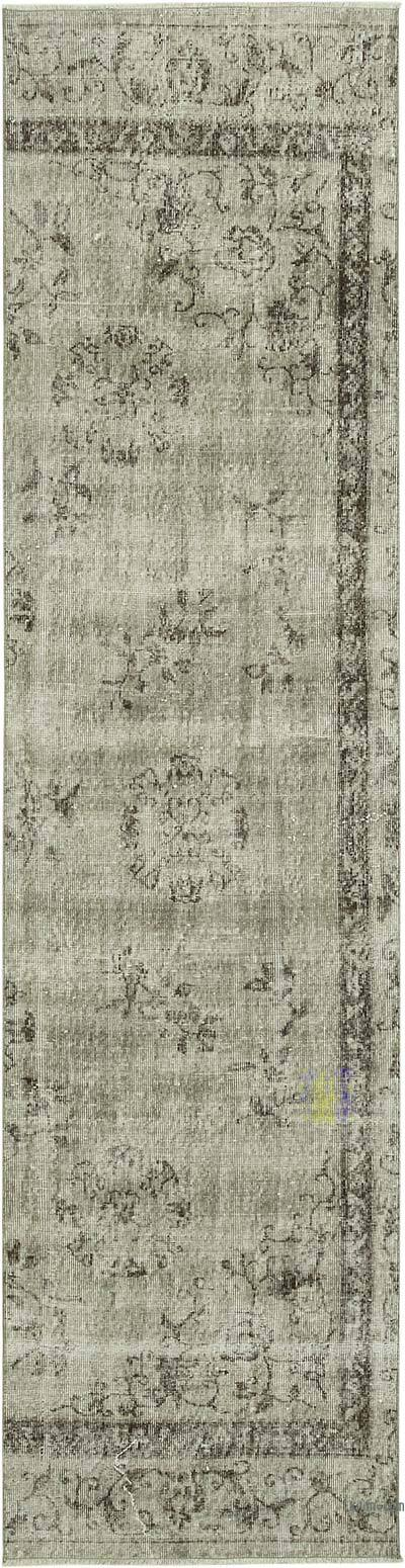 """Grey Over-dyed Turkish Vintage Runner Rug - 2' 7"""" x 10' 6"""" (31 in. x 126 in.)"""