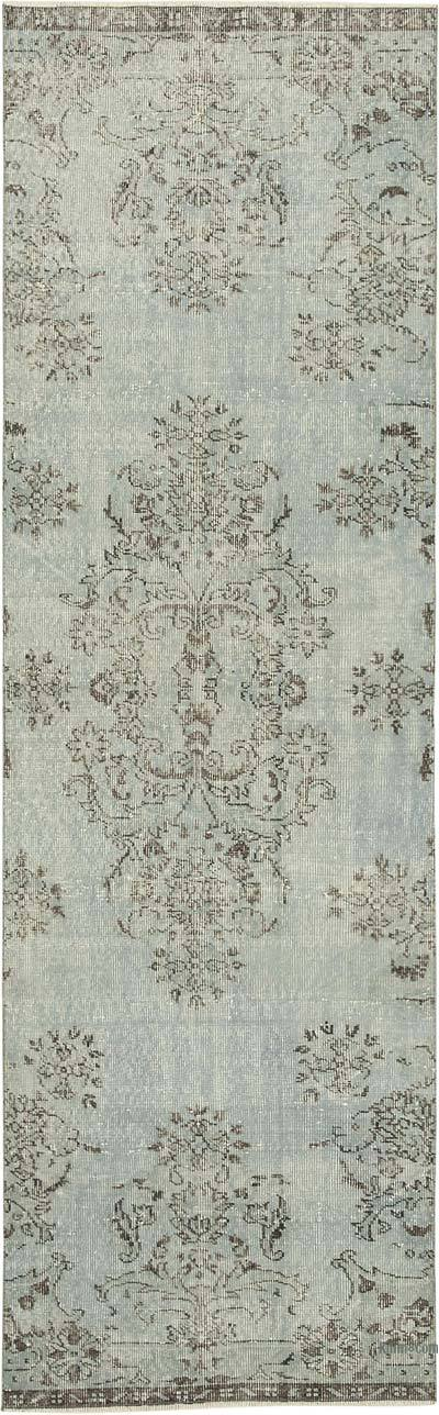 """Blue Over-dyed Turkish Vintage Runner Rug - 2' 11"""" x 9' 5"""" (35 in. x 113 in.)"""