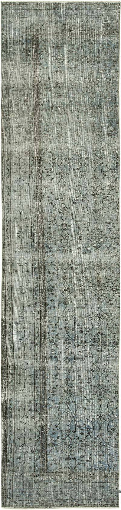 """Blue Over-dyed Turkish Vintage Runner Rug - 2' 6"""" x 10' 8"""" (30 in. x 128 in.)"""
