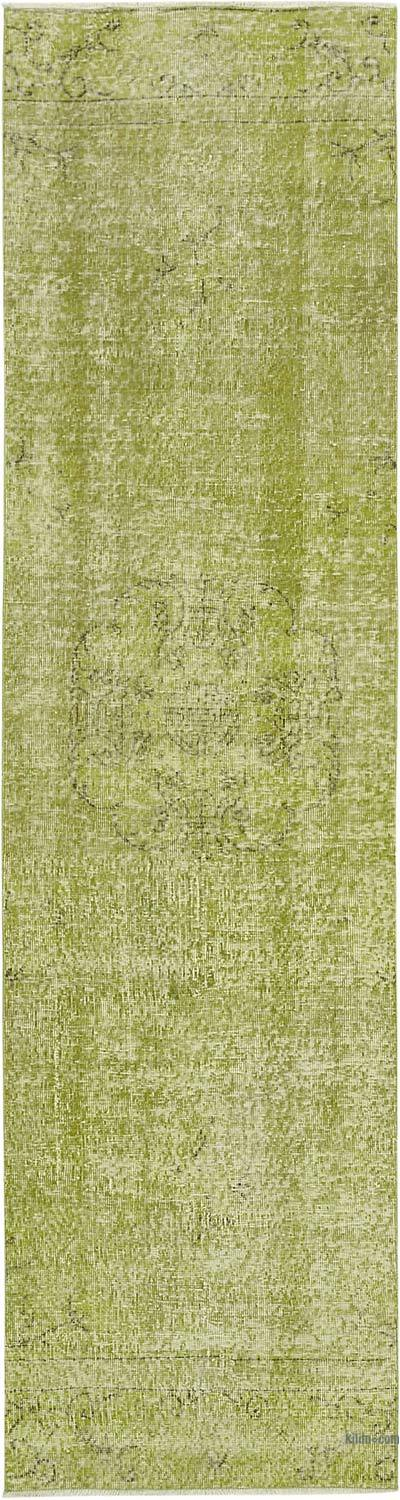 """Green Over-dyed Turkish Vintage Runner Rug - 2' 7"""" x 10'  (31 in. x 120 in.)"""