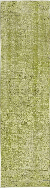 Yeşil Boyalı El Dokuma Vintage Halı Yolluk - 80 cm x 304 cm