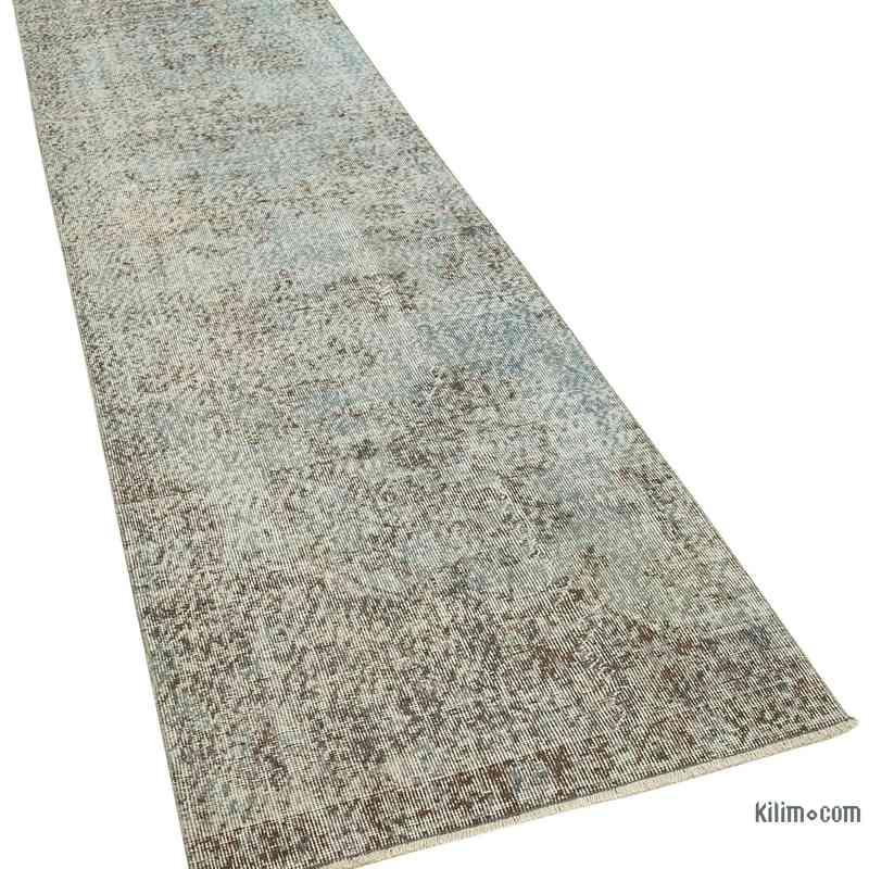 "Blue Over-dyed Turkish Vintage Runner Rug - 2' 10"" x 10' 2"" (34 in. x 122 in.) - K0054522"
