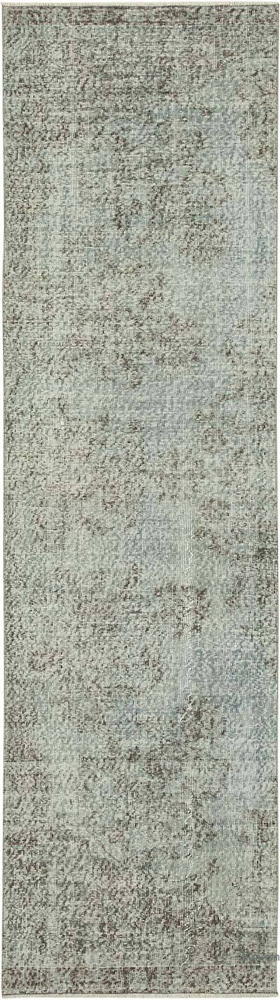 """Blue Over-dyed Turkish Vintage Runner Rug - 2' 10"""" x 10' 2"""" (34 in. x 122 in.)"""