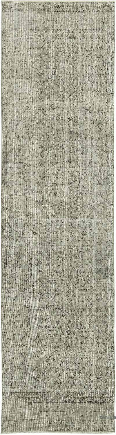 """Grey Over-dyed Turkish Vintage Runner Rug - 2' 8"""" x 9' 11"""" (32 in. x 119 in.)"""
