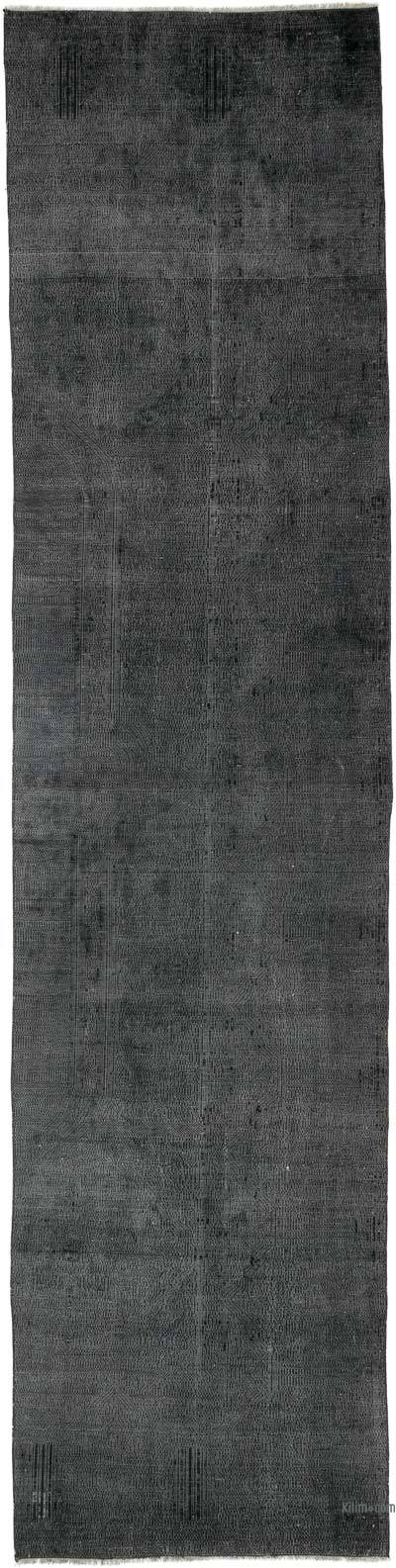 """Black Over-dyed Turkish Vintage Runner Rug - 3'  x 12' 3"""" (36 in. x 147 in.)"""