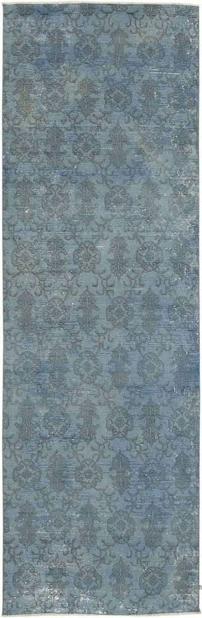 """Blue Over-dyed Turkish Vintage Runner Rug - 2' 10"""" x 8' 11"""" (34 in. x 107 in.)"""