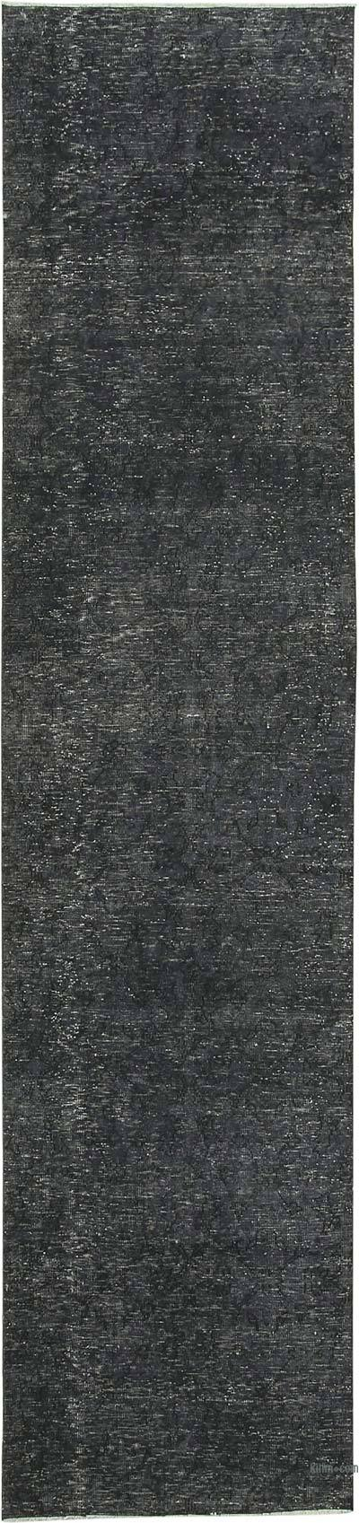 "Black Over-dyed Turkish Vintage Runner Rug - 3'  x 12' 8"" (36 in. x 152 in.)"