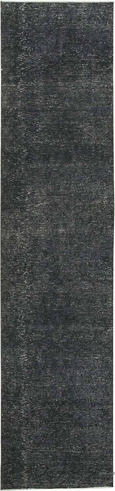 Siyah Boyalı El Dokuma Vintage Halı Yolluk - 91 cm x 386 cm