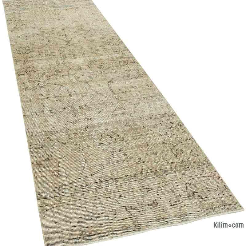 "Beige Over-dyed Turkish Vintage Runner Rug - 2' 11"" x 10' 3"" (35 in. x 123 in.) - K0054539"