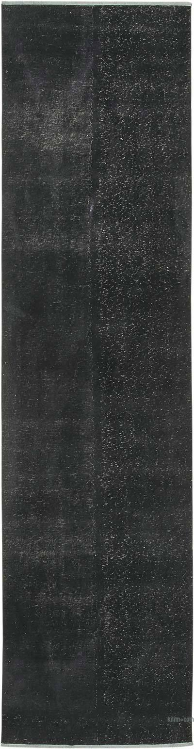 """Black Over-dyed Turkish Vintage Runner Rug - 3' 4"""" x 12' 6"""" (40 in. x 150 in.)"""