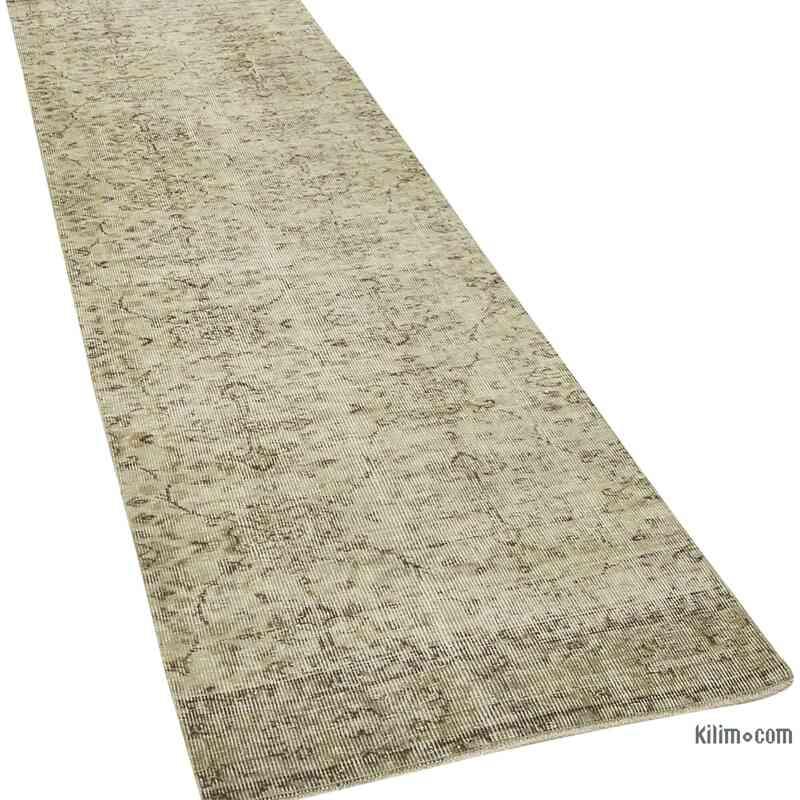 "Beige Over-dyed Turkish Vintage Runner Rug - 2' 7"" x 9' 3"" (31 in. x 111 in.) - K0054541"