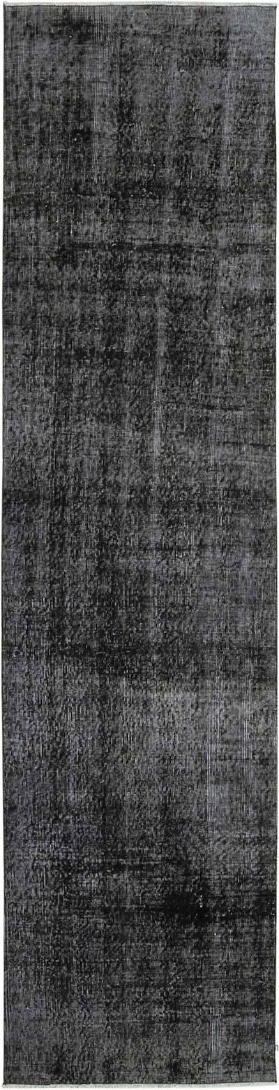 Siyah Boyalı El Dokuma Vintage Halı Yolluk - 81 cm x 310 cm