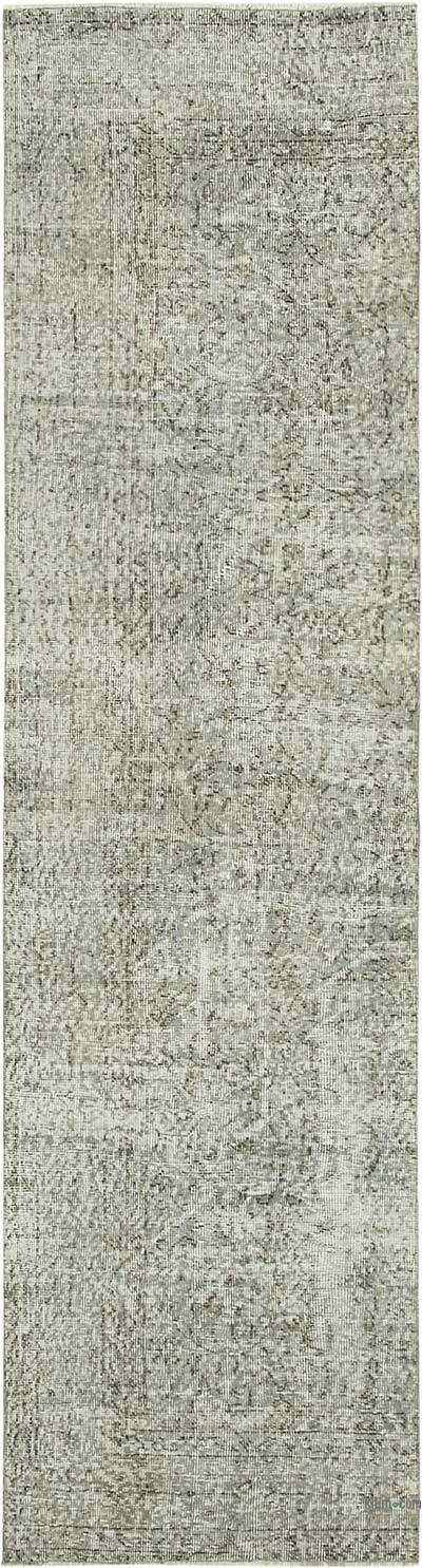 """Grey Over-dyed Turkish Vintage Runner Rug - 2' 8"""" x 9' 9"""" (32 in. x 117 in.)"""