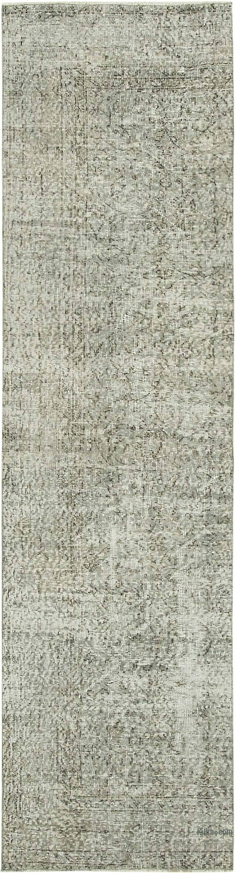 Grey Over-dyed Turkish Vintage Runner Rug - 2' 8# x 9' 9# (32 in. x 117 in.) - K0054572