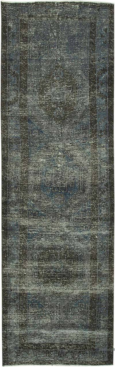 """Blue Over-dyed Turkish Vintage Runner Rug - 3' 1"""" x 9' 6"""" (37 in. x 114 in.)"""