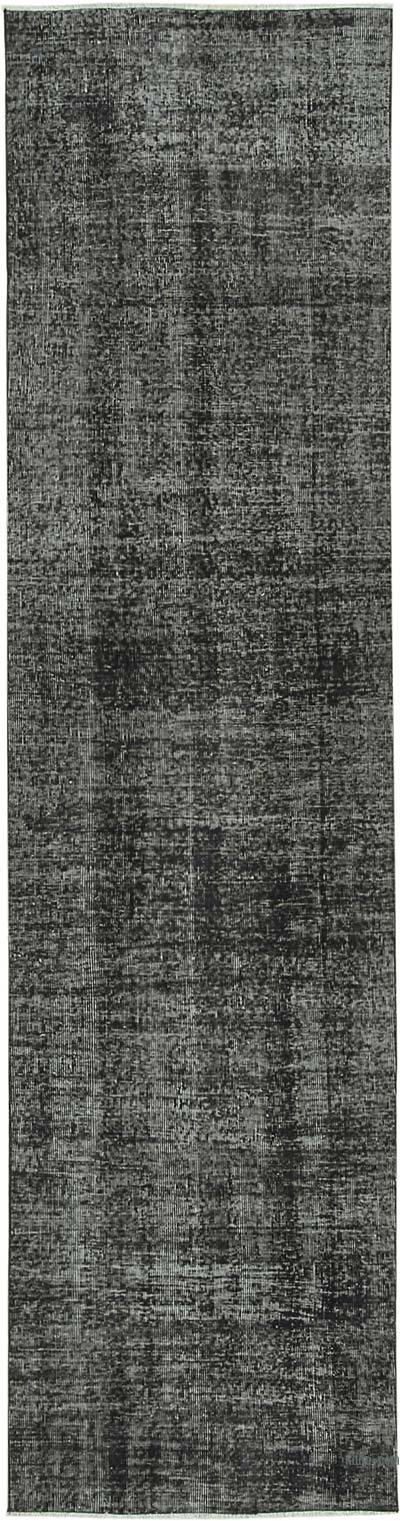 """Black Over-dyed Turkish Vintage Runner Rug - 2' 8"""" x 10' 2"""" (32 in. x 122 in.)"""