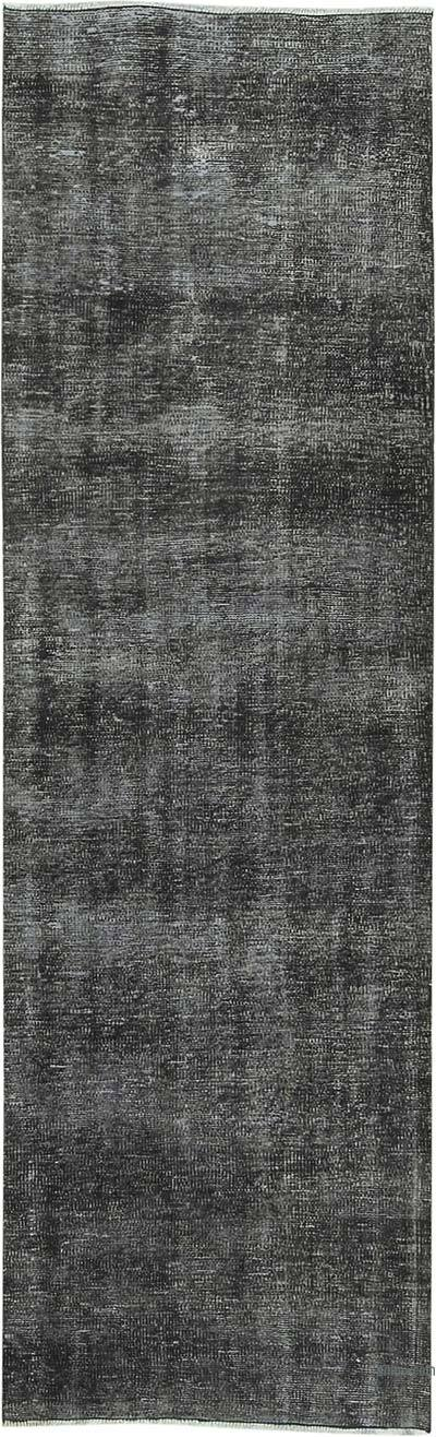 """Black Over-dyed Turkish Vintage Runner Rug - 2' 8"""" x 8' 8"""" (32 in. x 104 in.)"""