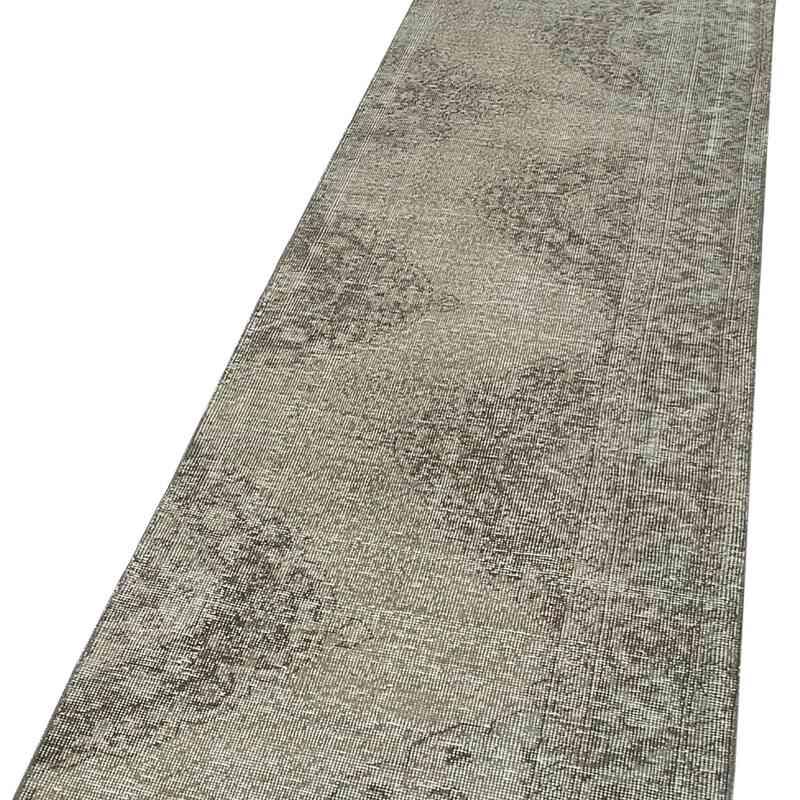"Grey Over-dyed Turkish Vintage Runner Rug - 2' 6"" x 11' 7"" (30 in. x 139 in.) - K0054581"