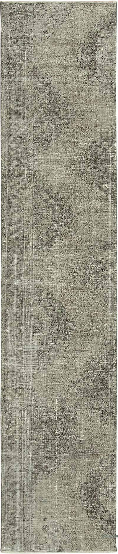 """Grey Over-dyed Turkish Vintage Runner Rug - 2' 6"""" x 11' 7"""" (30 in. x 139 in.)"""