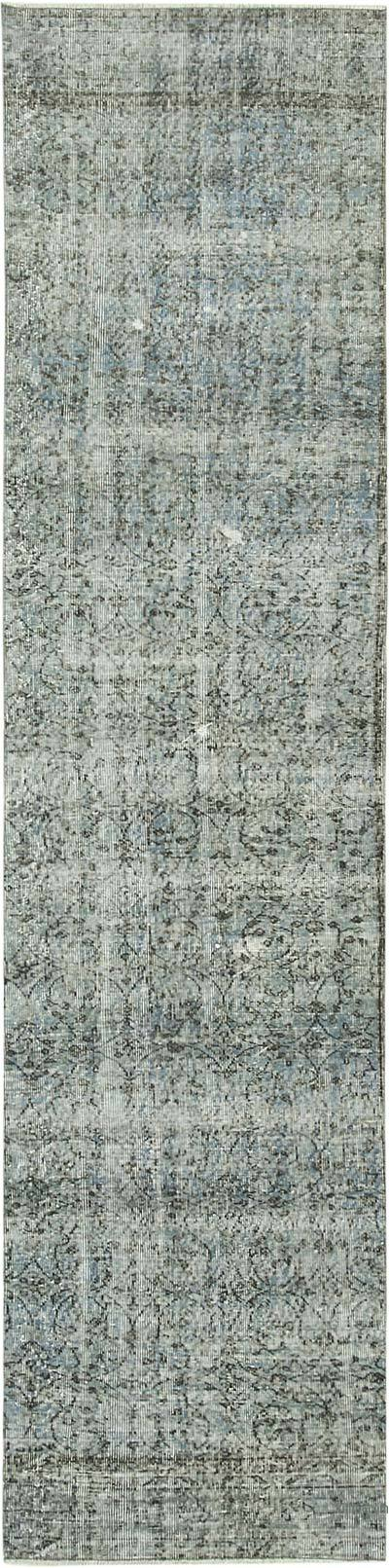 """Blue Over-dyed Turkish Vintage Runner Rug - 2' 7"""" x 10' 8"""" (31 in. x 128 in.)"""
