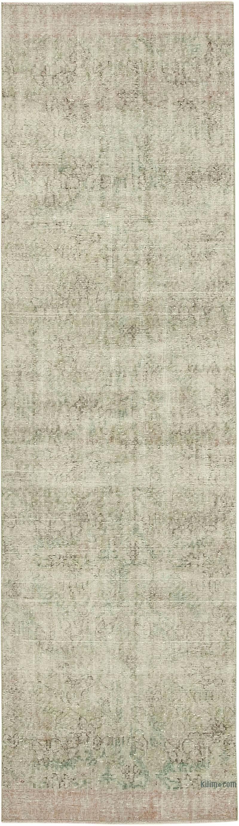 Bej Boyalı El Dokuma Vintage Halı Yolluk - 91 cm x 318 cm - K0054585