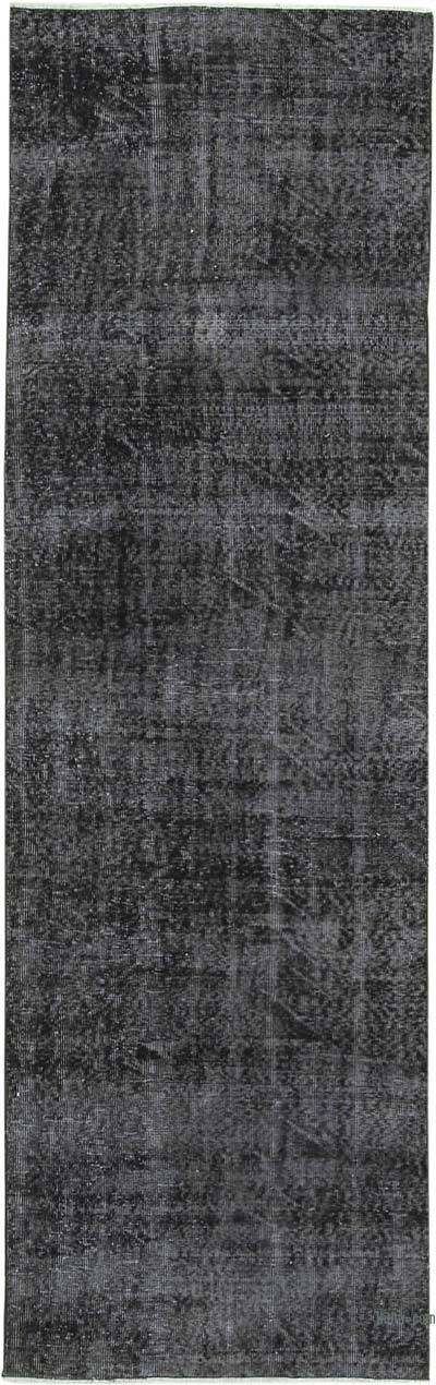 "Black Over-dyed Turkish Vintage Runner Rug - 2' 11"" x 9' 5"" (35 in. x 113 in.)"