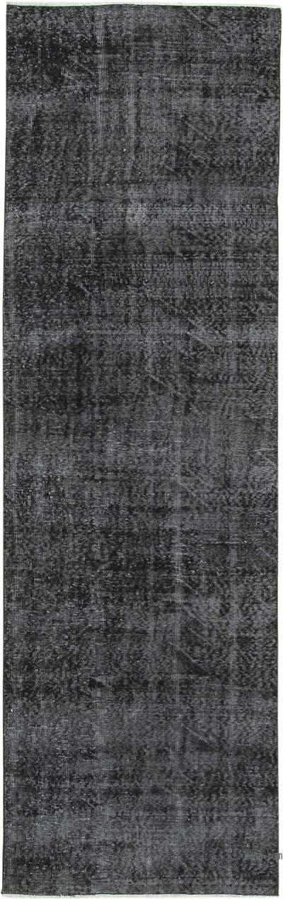 Siyah Boyalı El Dokuma Vintage Halı Yolluk - 90 cm x 287 cm