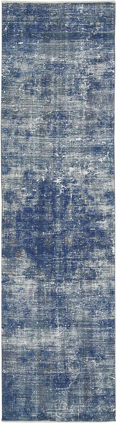 "Blue Over-dyed Turkish Vintage Runner Rug - 2' 7"" x 9' 7"" (31 in. x 115 in.)"