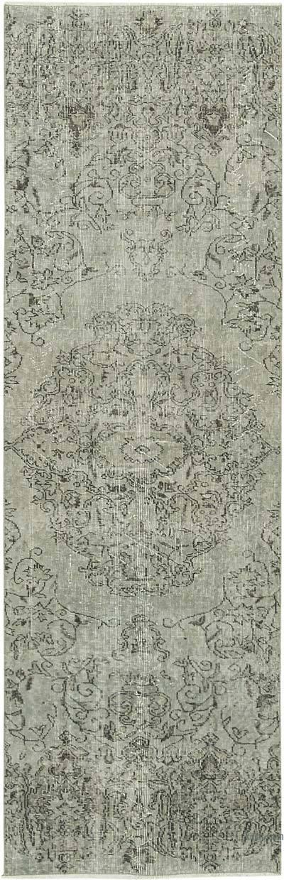 Gri Boyalı El Dokuma Vintage Halı Yolluk - 87 cm x 273 cm